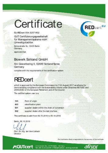 Biowerk Sohland Zertifikat - REDcert
